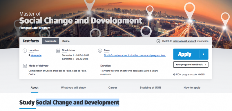 Master of Social Change and Development