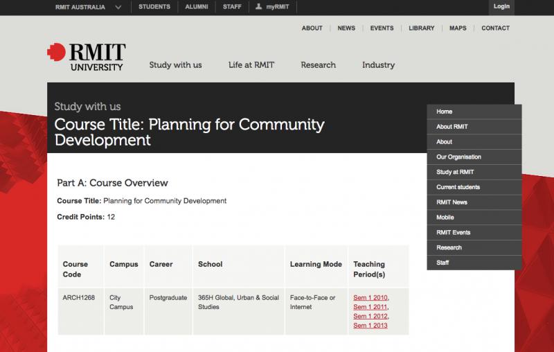 Course: Planning for Community Development