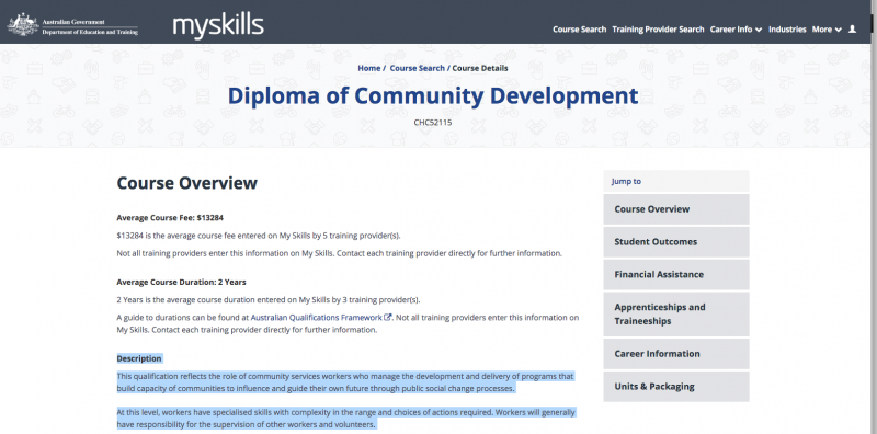 Diploma of Community Development