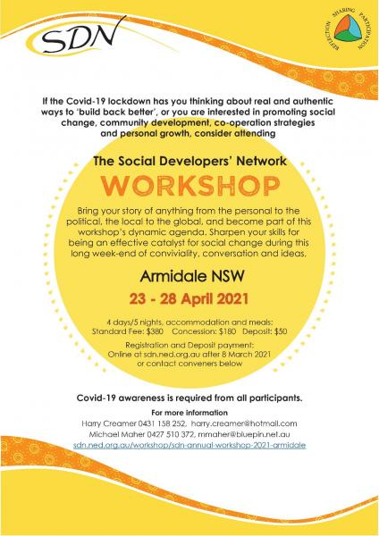 SDN Armidale 2021 Workshop Flyer